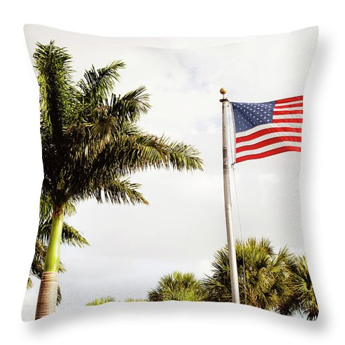 Tranquility Throw Pillow featuring the photograph American Flag Flying Amongst Palm Trees by Ron Levine