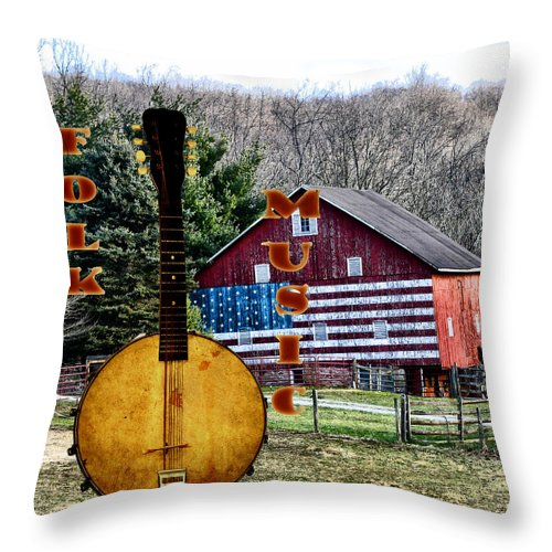 American Throw Pillow featuring the photograph American Folk Music by Bill Cannon