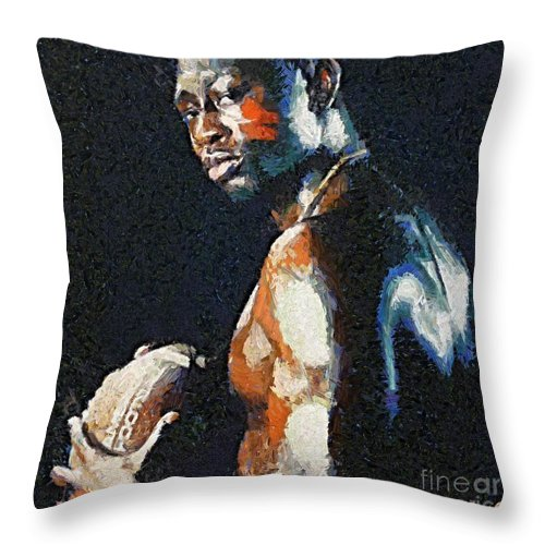 American Football Throw Pillow featuring the painting American Football Player by Dragica Micki Fortuna
