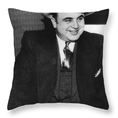 1035-790 Throw Pillow featuring the photograph American Gangster Al Capone by Underwood Archives