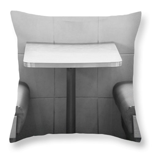 Diner Throw Pillow featuring the photograph American Heritage - Diner In Black And White by Kyra Savolainen