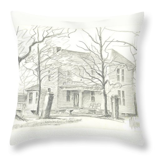 American Home Ii Throw Pillow featuring the drawing American Home II by Kip DeVore