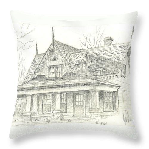 American Home Throw Pillow featuring the drawing American Home by Kip DeVore