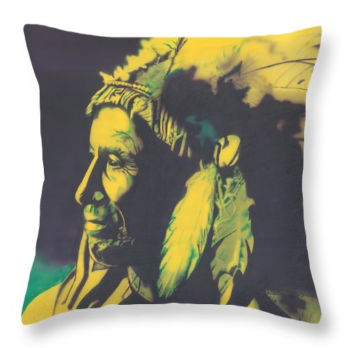 American Horse Throw Pillow featuring the painting American Horse by Louis Garding