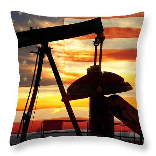 Oil Throw Pillow featuring the photograph American Oil by James BO Insogna