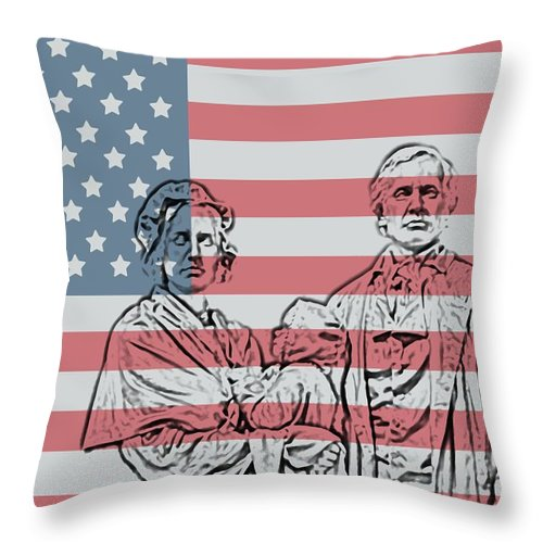American Patriots American Patriot Throw Pillow featuring the photograph American Patriots by Dan Sproul