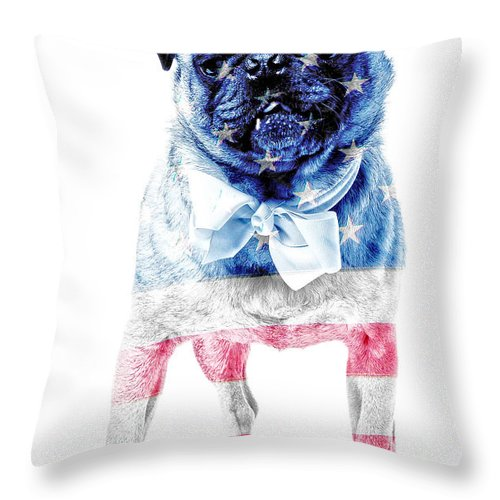 Animal Throw Pillow featuring the photograph American Pug by Edward Fielding
