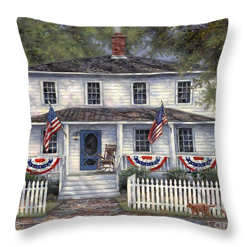 Partriotic Throw Pillow featuring the painting American Roots by Chuck Pinson