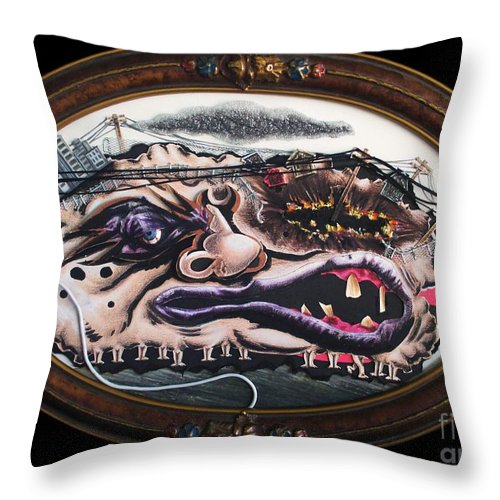 Surreal Throw Pillow featuring the mixed media American Slothic by Mack Galixtar