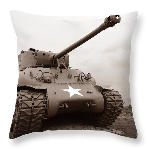 Sherman Throw Pillow featuring the photograph American Tank by Olivier Le Queinec