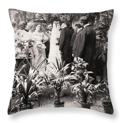 1900 Throw Pillow featuring the photograph American Wedding, 1900 by Granger