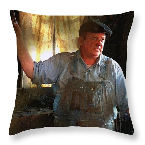 Portrait Throw Pillow featuring the painting American Workingman by RC DeWinter