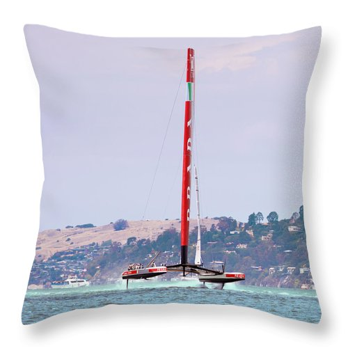 Catamaran Throw Pillow featuring the photograph America's Cup 2013 Luna Rossa 02 by Daniel Furon