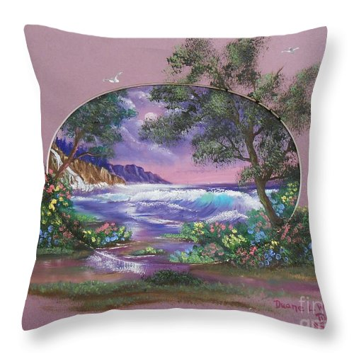 Purple Throw Pillow featuring the painting Amethyst Tide by Duane West