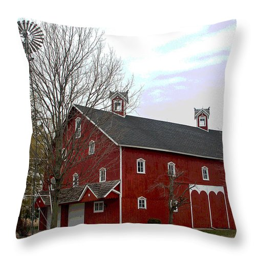 Amish Barn Throw Pillow featuring the photograph Amish Barn And Wind Mill - Allen County Indiana by Suzanne Gaff