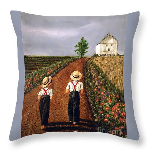 Lifestyle Throw Pillow featuring the painting Amish Road by Linda Simon