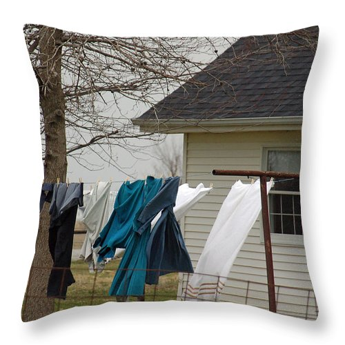 Clothesline Throw Pillow featuring the photograph Amish Washday - Allen County Indiana by Suzanne Gaff