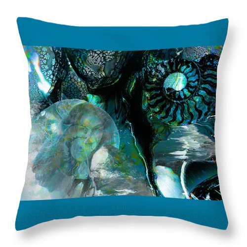 Ocean Throw Pillow featuring the digital art Ammonite Seascape by Lisa Yount