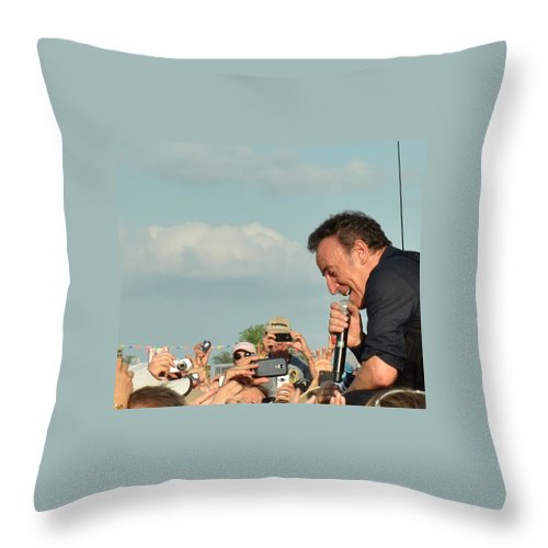 Bruce Springsteen Throw Pillow featuring the photograph Among The Crowd by William Morgan