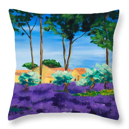 Landscape Throw Pillow featuring the painting Among The Lavender by Elise Palmigiani