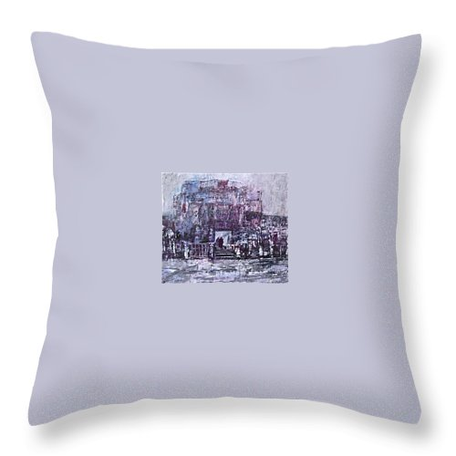 Purple Throw Pillow featuring the painting Among The Ruins by Janice Nabors Raiteri