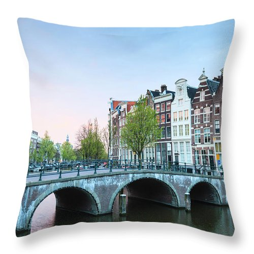 North Holland Throw Pillow featuring the photograph Amsterdam At Dusk by Fraser Hall