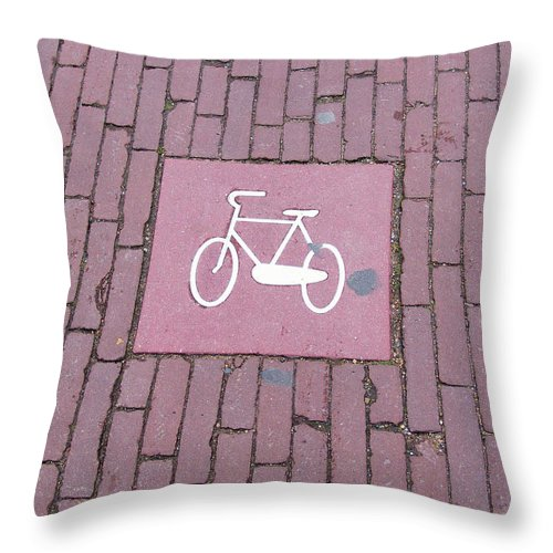 Bicycle Throw Pillow featuring the photograph Amsterdam Bicycle Lane by Alex Vishnevsky