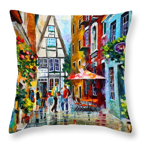 Afremov Throw Pillow featuring the painting Amsterdam Street by Leonid Afremov