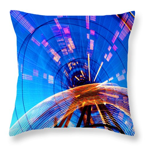 Amusement Park Throw Pillow featuring the photograph Amusement Park Rides 1 by Steve Ohlsen