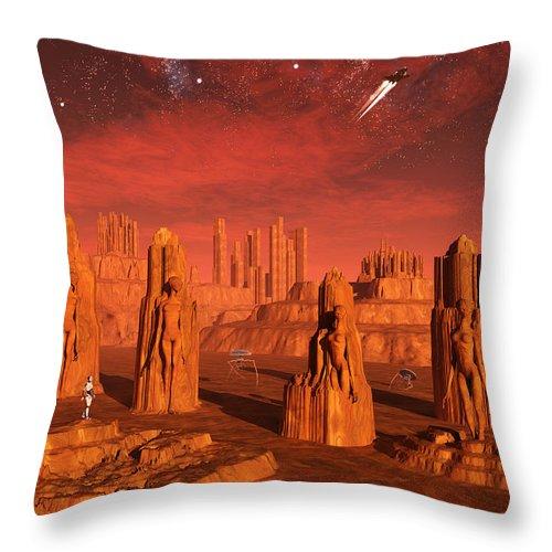 Vertical Throw Pillow featuring the digital art An Advanced Race Exploring The Ancient by Mark Stevenson