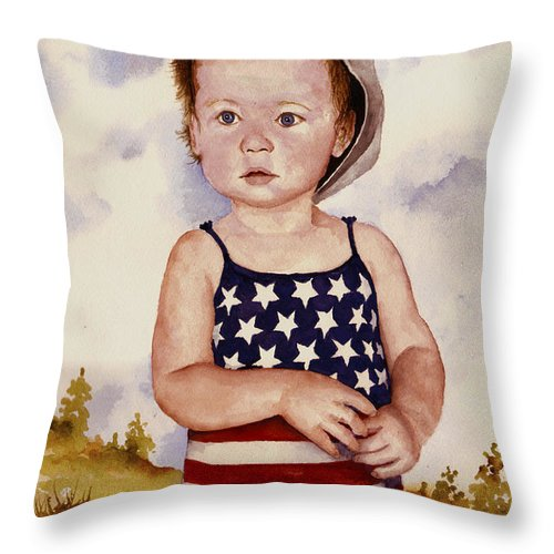 Kid Throw Pillow featuring the painting An All American Girl Named Ireland by Sam Sidders