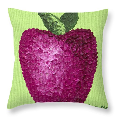 Apples Throw Pillow featuring the painting An Apple A Day by Wendy May