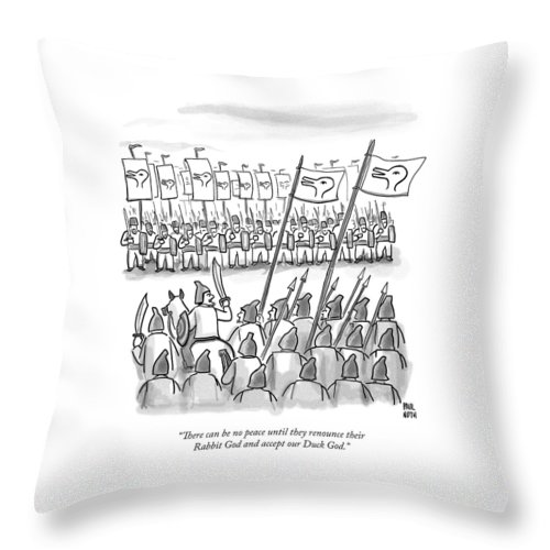 War Throw Pillow featuring the drawing An Army Lines Up For Battle by Paul Noth