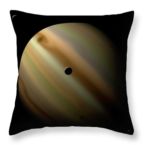 Concepts & Topics Throw Pillow featuring the digital art An Artists Depiction Of A Gas Giant by Marc Ward/stocktrek Images
