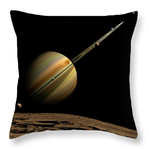 Shadow Throw Pillow featuring the digital art An Artists Depiction Of A Ringed Gas by Marc Ward/stocktrek Images