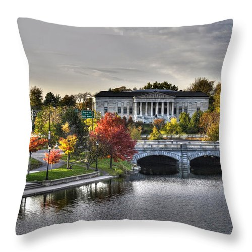 Michael Frank Jr Throw Pillow featuring the photograph An Autumn Day At Hoyt Lake...dusk Oct2014 by Michael Frank Jr