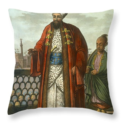 Print Throw Pillow featuring the drawing An Egyptian Bey by Luigi Mayer