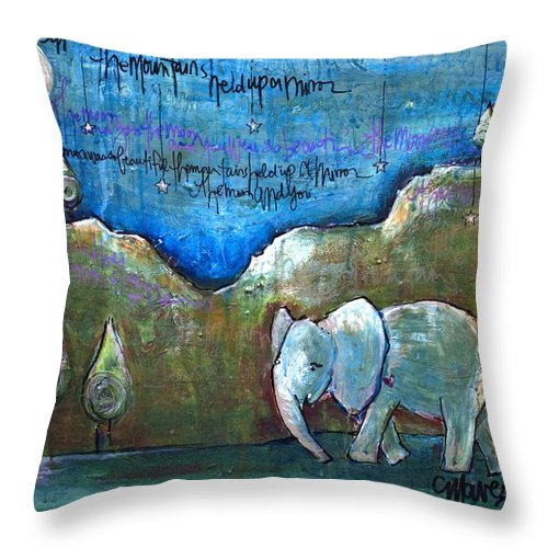 Elephant Throw Pillow featuring the painting An Elephant For You by Laurie Maves ART