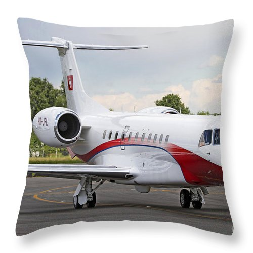 No People Throw Pillow featuring the photograph An Embraer Legacy 600 Private Jet by Luca Nicolotti