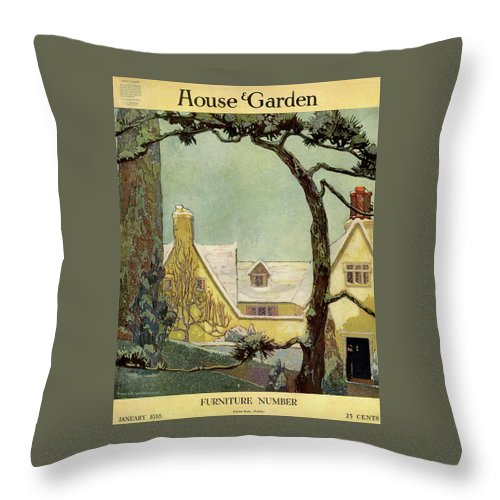 House And Garden Throw Pillow featuring the photograph An English Country House by Porter Woodruff