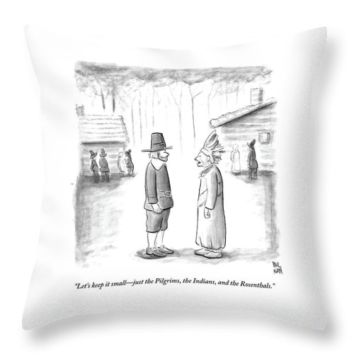 Thanksgiving Throw Pillow featuring the drawing An Indian Chief Speaks To A Pilgrim by Paul Noth