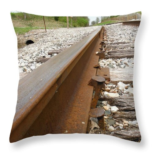 An Inspection Failure Of Train Tracks Throw Pillow featuring the photograph An Inspection Failure Of Train Tracks 6 by Paddy Shaffer