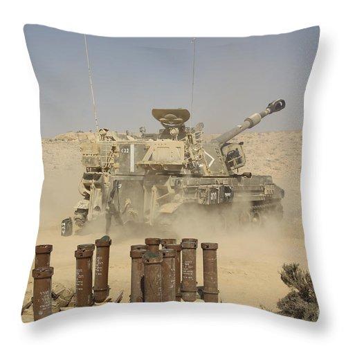 Battletank Throw Pillow featuring the photograph An Israel Defense Force Artillery Corps by Ofer Zidon