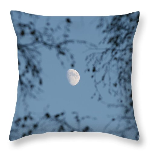 Moon Throw Pillow featuring the photograph An October Moon by Neal Eslinger