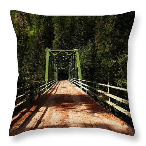 Man Made Throw Pillow featuring the photograph An Old Bridge Crossing The Seleway River by Jeff Swan