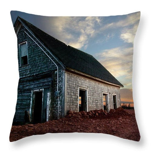Abandoned Throw Pillow featuring the photograph An Old Farm House Sits Partially Buried by Robert van Waarden