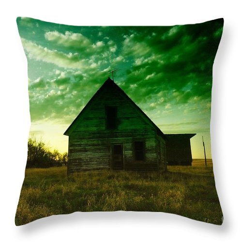 Houses Throw Pillow featuring the photograph An Old North Dakota Farm House by Jeff Swan