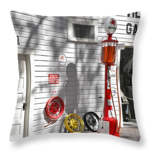 Garage Throw Pillow featuring the photograph An Old Village Gas Station by Mal Bray