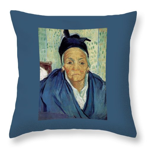 1888 Throw Pillow featuring the painting An Old Woman Of Arles by Vincent van Gogh