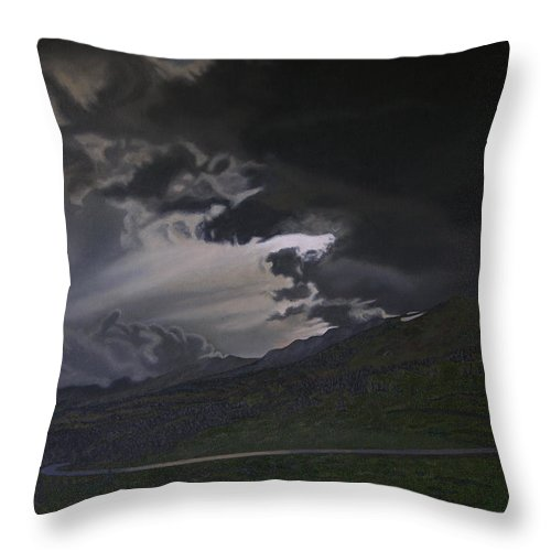 Landscape Throw Pillow featuring the painting An Opening by Thu Nguyen